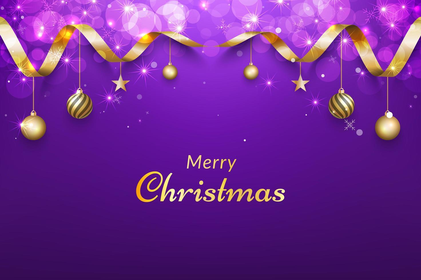 sfondo di Natale viola con nastro d'oro vettore