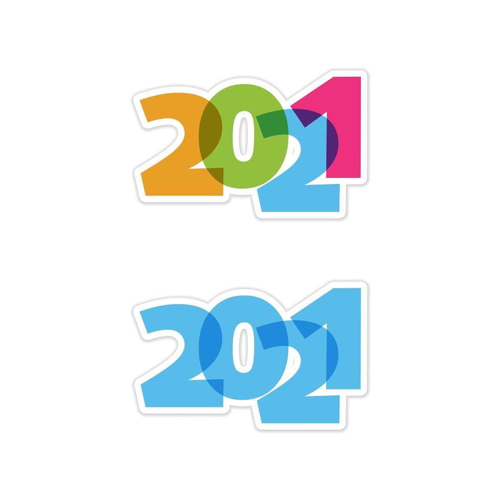 set 2021 trasparente vettore