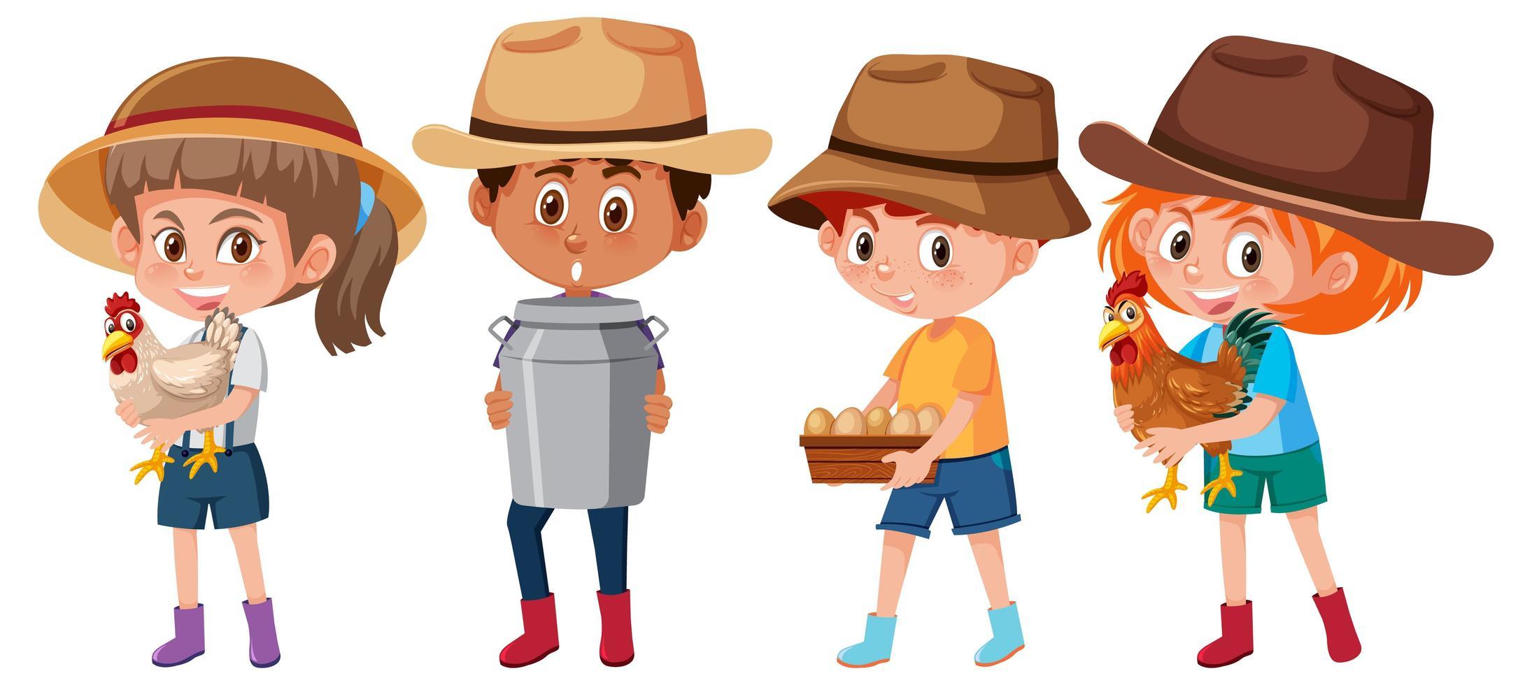 set di diversi bambini che tengono gli elementi della fattoria vettore