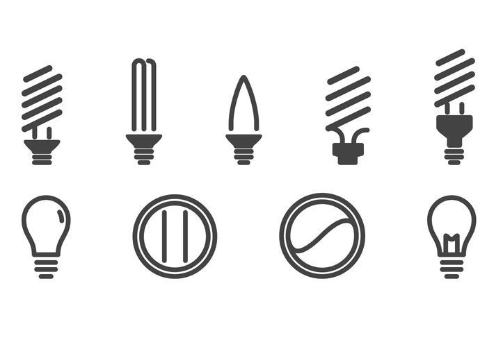 Set di icone di lampadine vettore