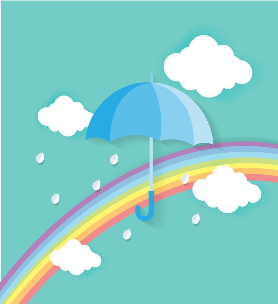 ombrello con arcobaleno e nuvole vettore