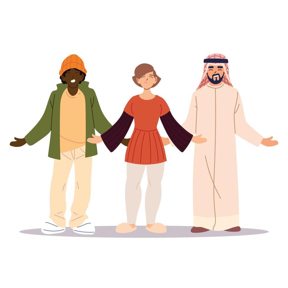 gruppo di amici insieme, diversità o multiculturale vettore