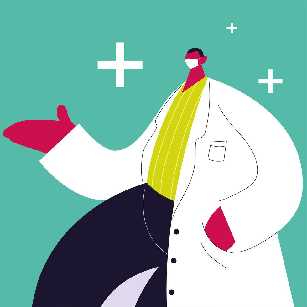 medico maschio in piedi. personale medico vettore