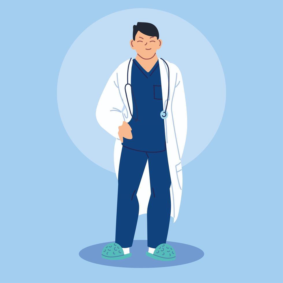 medico in piedi con camice medico vettore