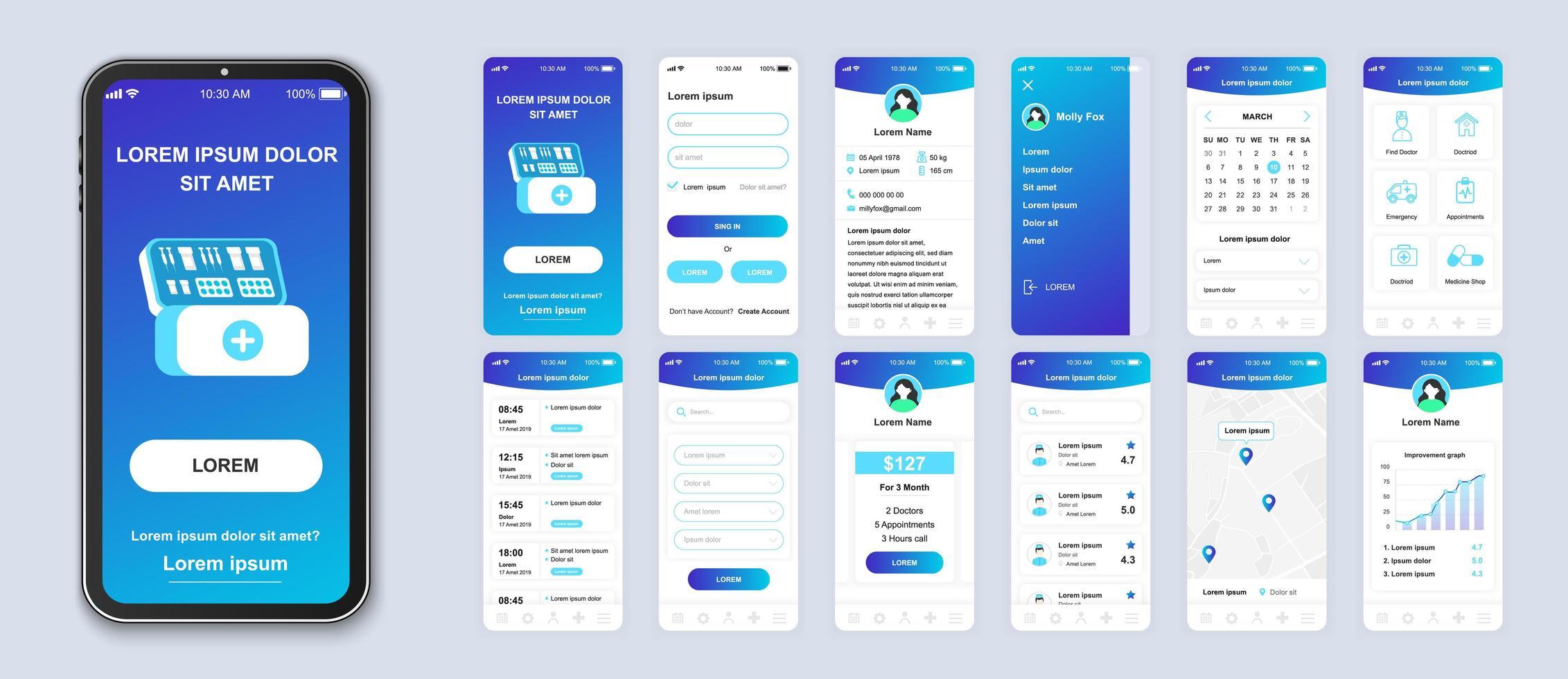 vettore interfaccia smartphone ui medicina gradiente blu