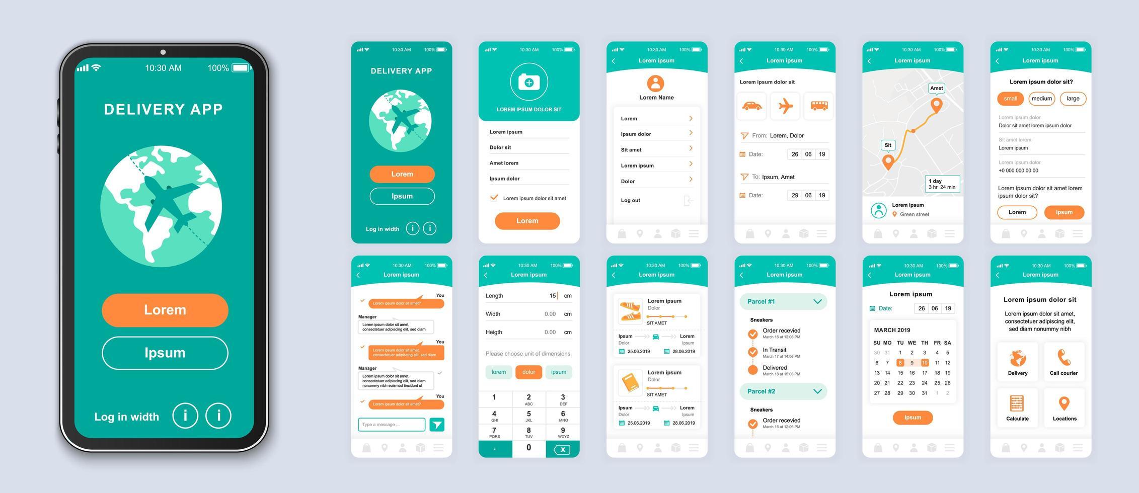 interfaccia dello smartphone dell'interfaccia utente di consegna verde e arancione vettore