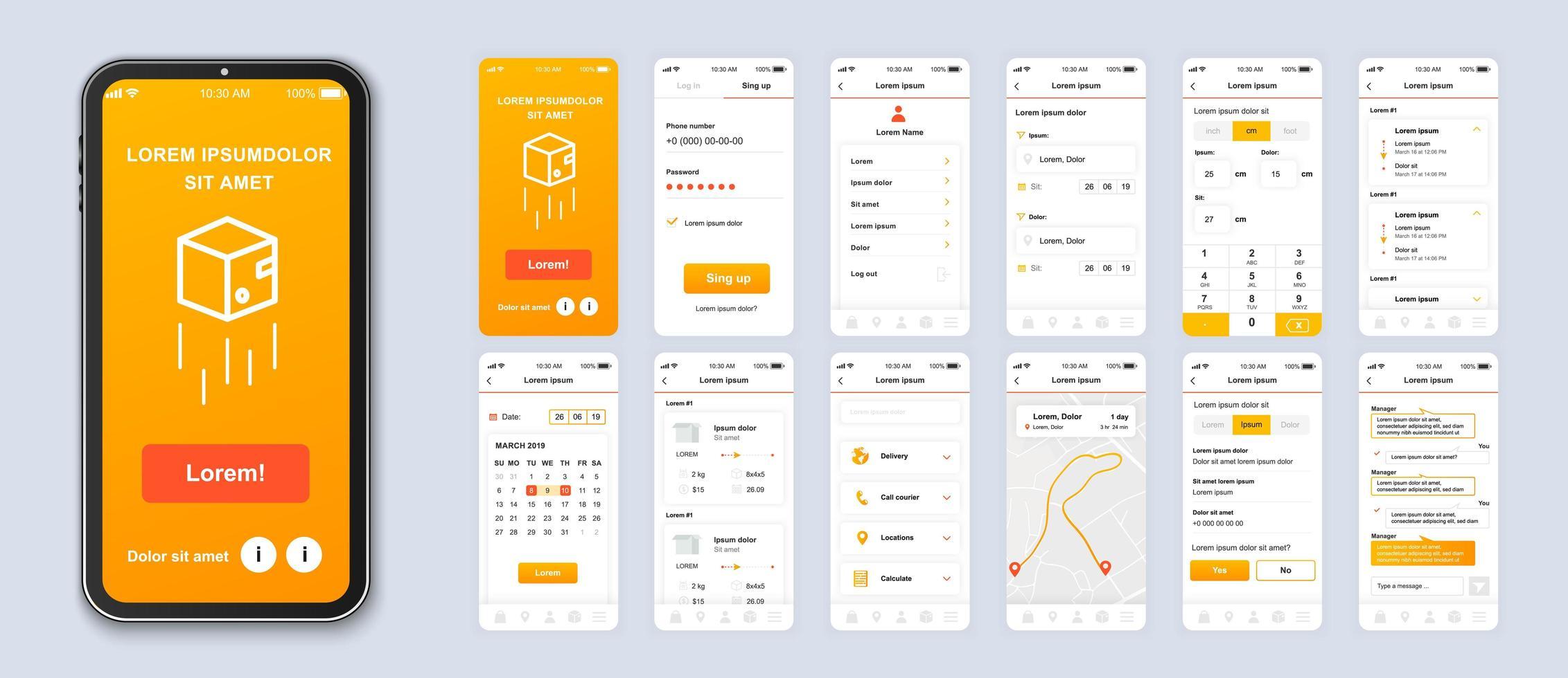 interfaccia smartphone app mobile ui consegna sfumatura arancione vettore