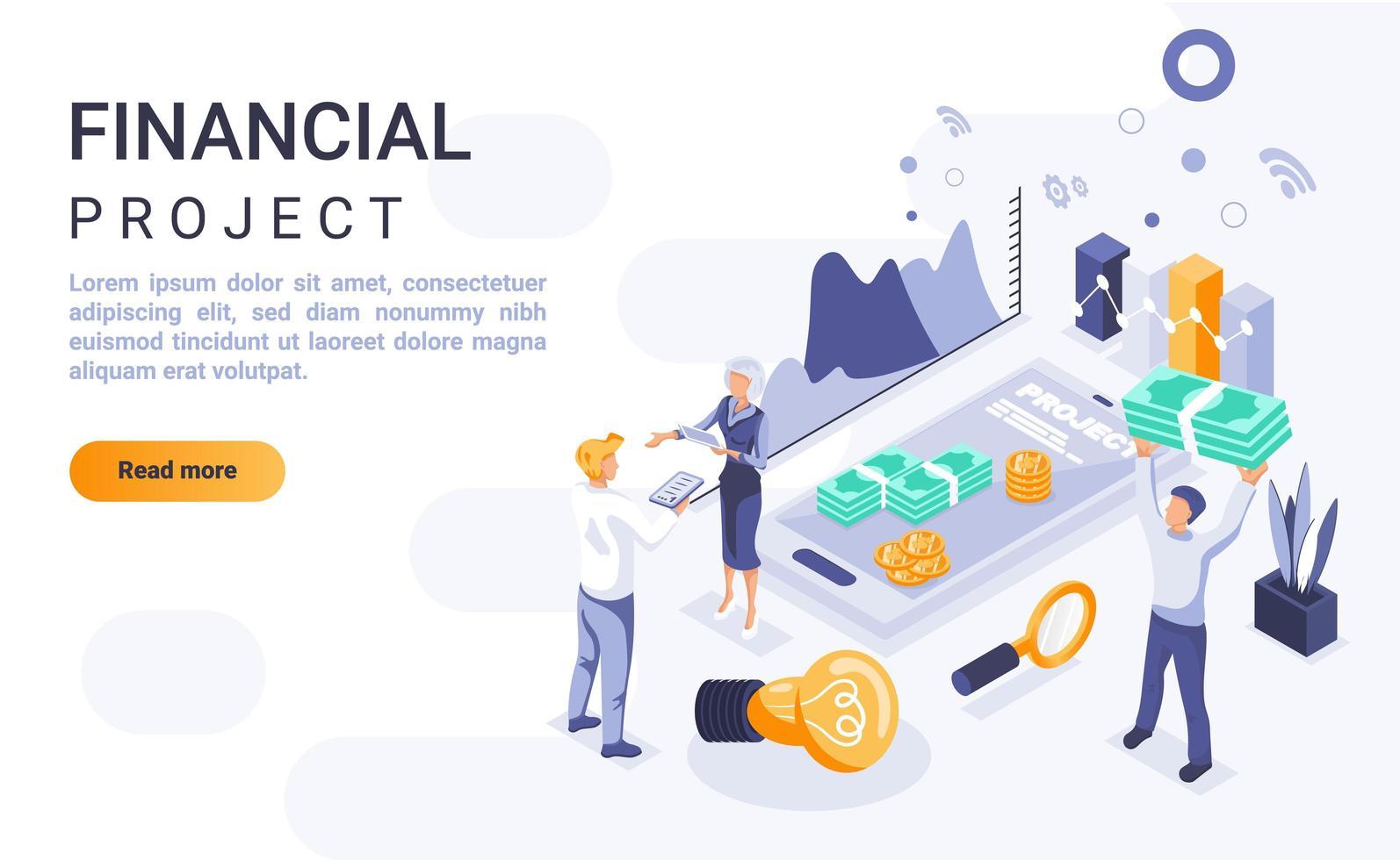 pagina di destinazione isometrica del progetto finanziario vettore