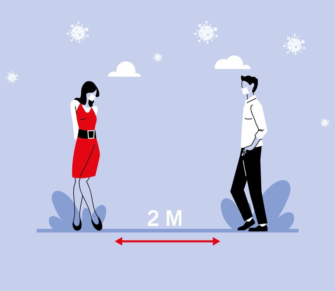 distanziamento sociale tra donna e uomo con maschere vettore
