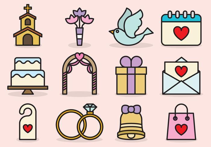 Icone di matrimonio carino vettore