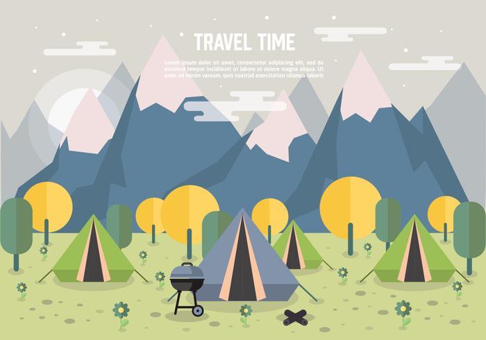 foresta di vettore del paesaggio di campeggio