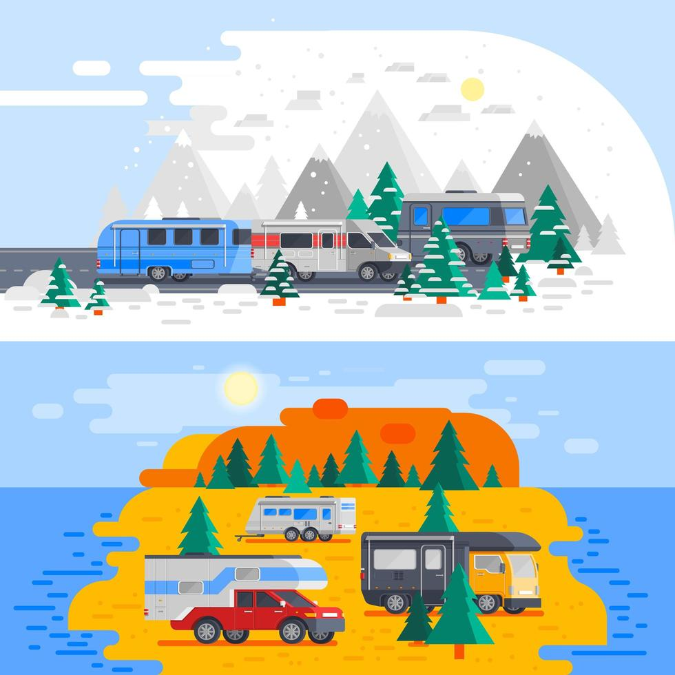 cartone animato camper e camper all'aperto vettore