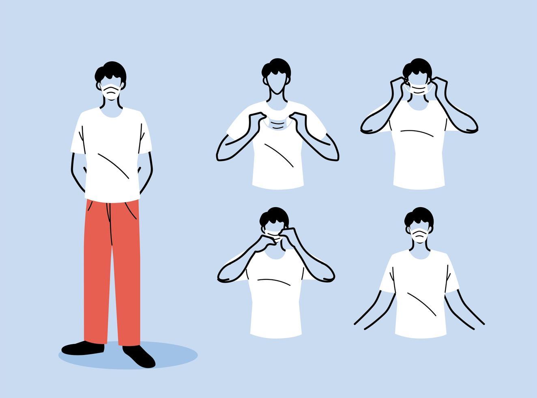 come indossare correttamente una maschera vettore