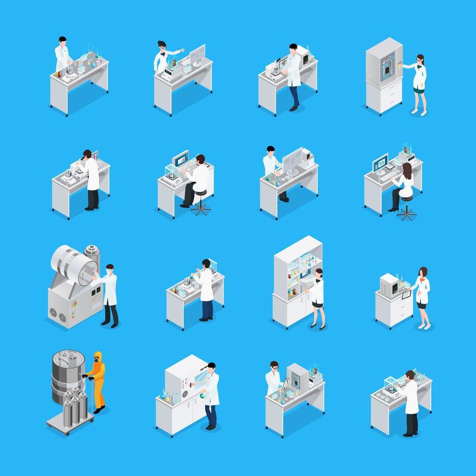 persone che lavorano un set di icone isometriche di laboratorio vettore