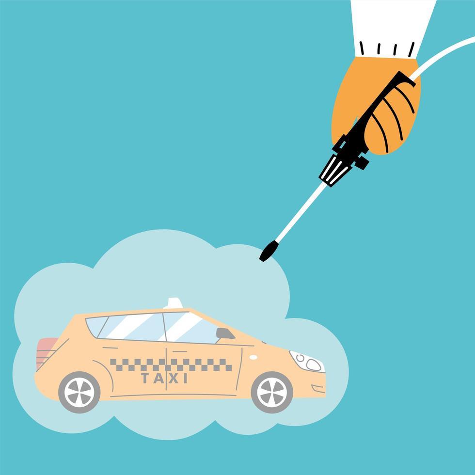 servizio taxi disinfezione da coronavirus o covid 19 vettore