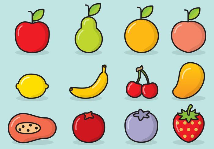 Icone di frutta carino vettore