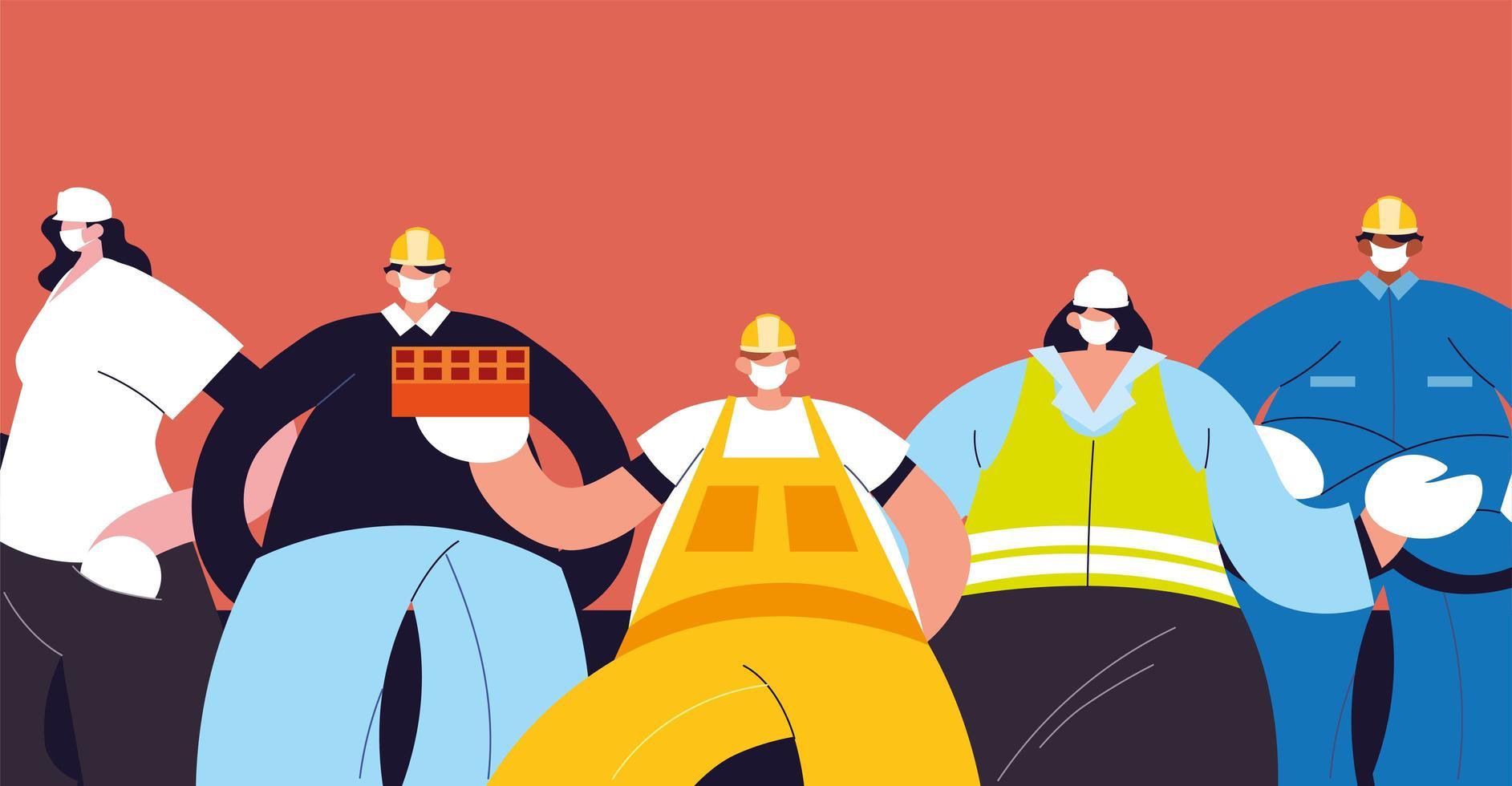 gruppo di tecnici e ingegneri con maschera facciale vettore
