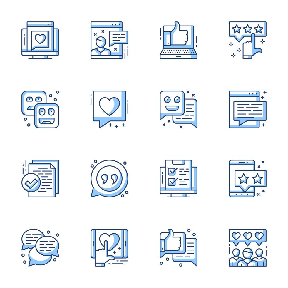 set di icone line-art di revisione e soddisfazione dell'utente vettore