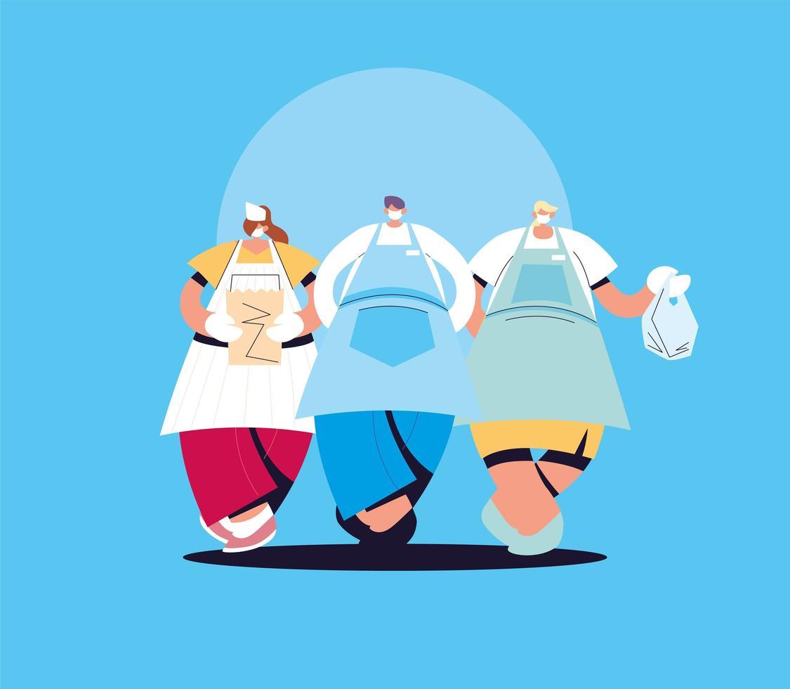 gruppo di camerieri con maschera e divisa vettore