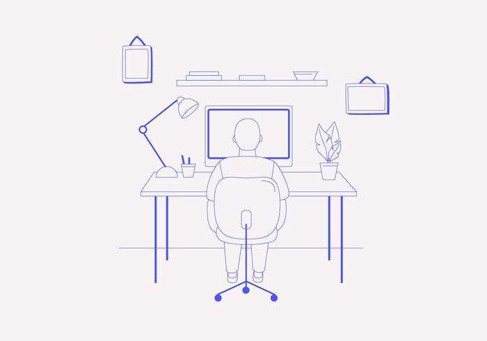 Illustrazione di scrivania vettore