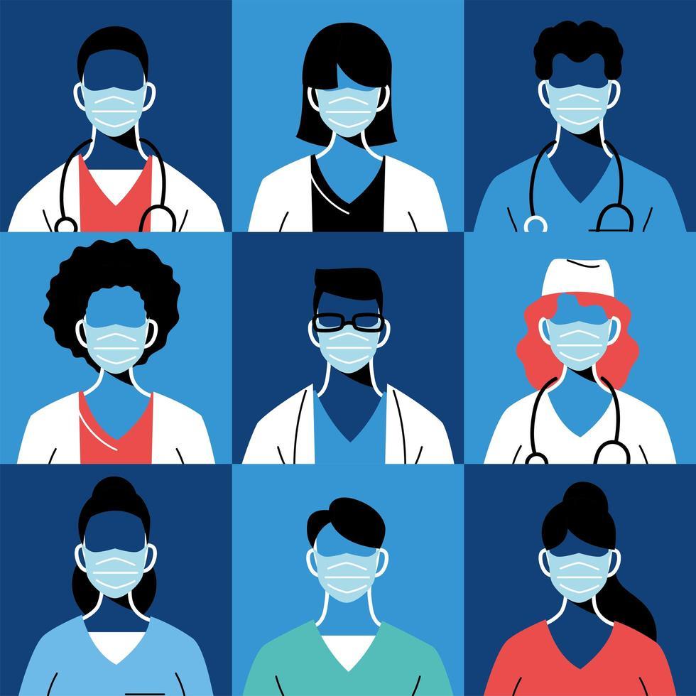 medici di sesso femminile e maschile con maschere e uniformi vettore