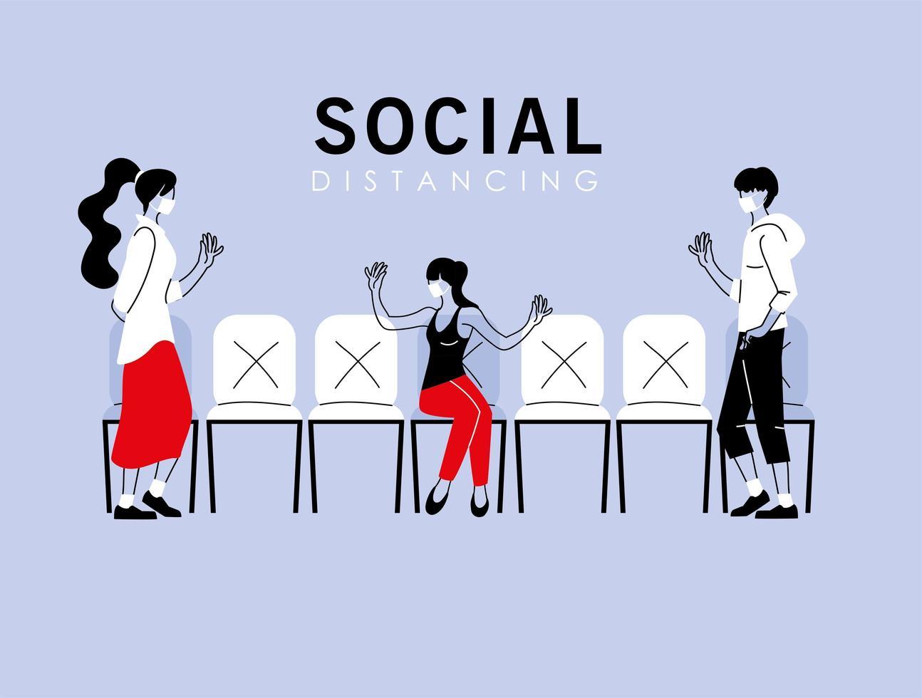 distanziamento sociale tra donna e uomo vettore
