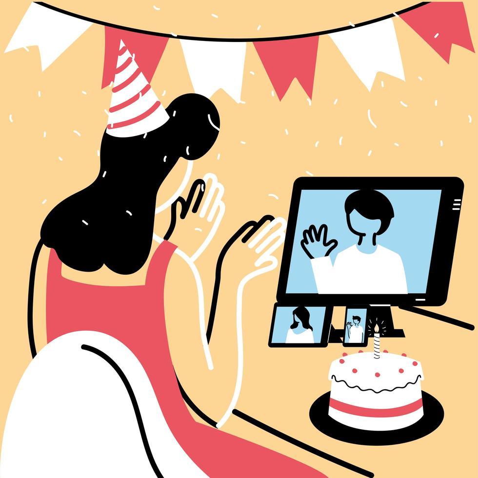 donna con cappello da festa e computer in chat vettore