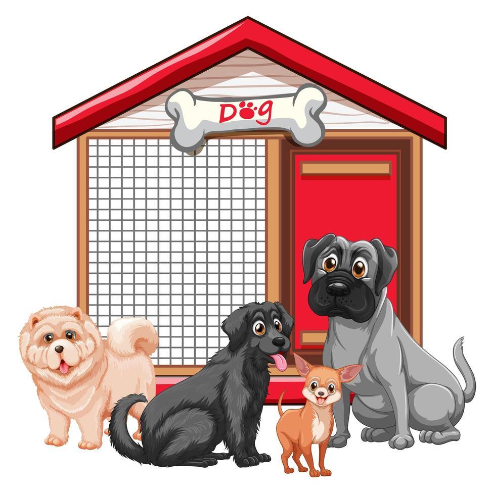 gabbia per cani con gruppo di cani vettore