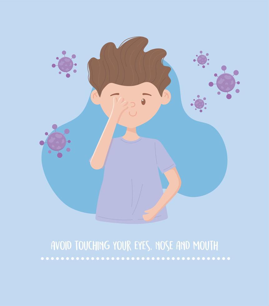 prevenzione del coronavirus con messaggio di consigli sulla salute vettore