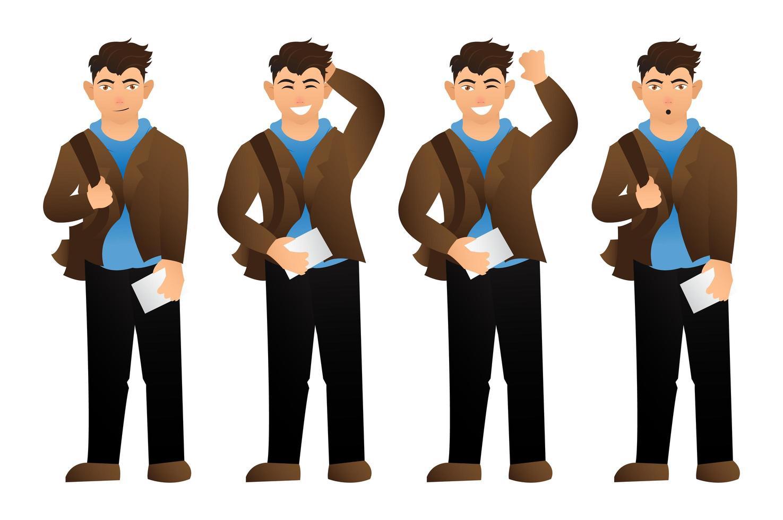 impostare l'uomo cartone animato con varie espressioni vettore