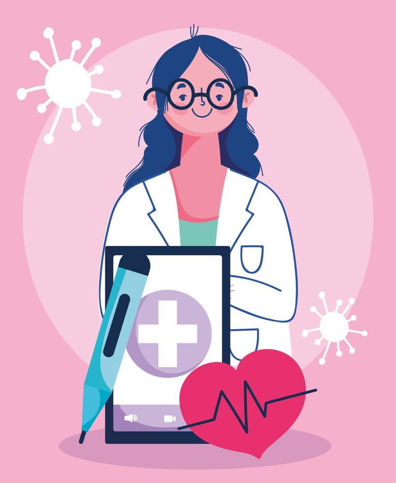 concetto di visita medico online con medico e smartphone vettore