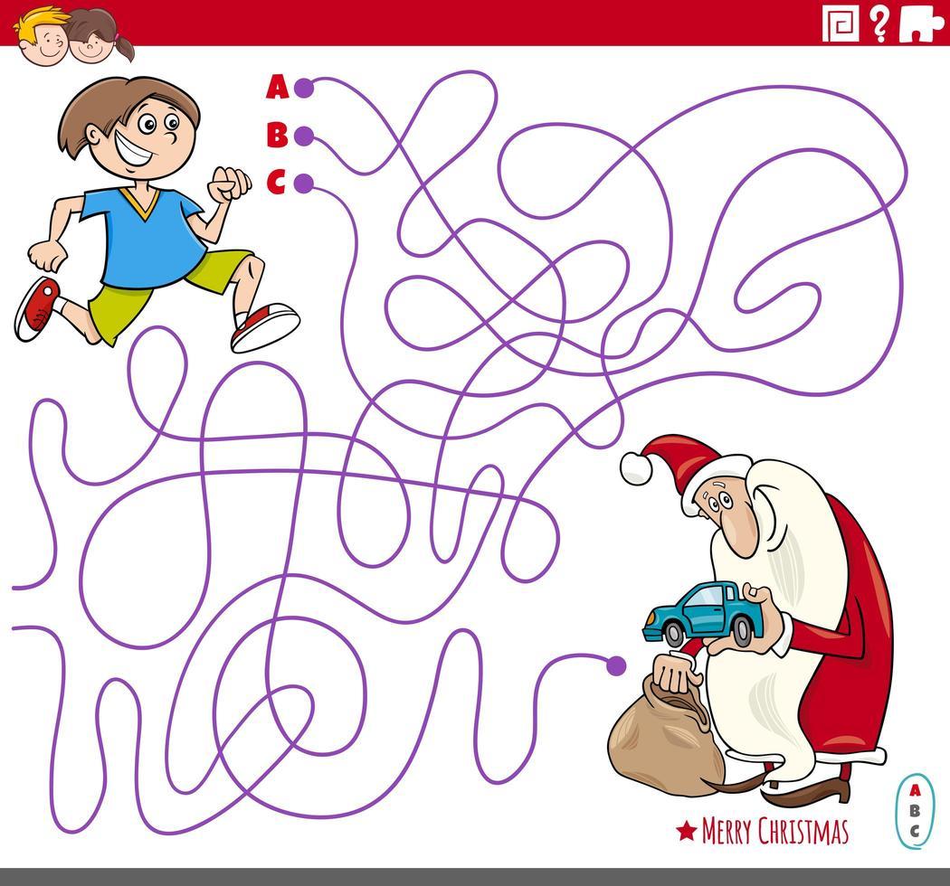 gioco del labirinto con cartone animato Babbo Natale e ragazzo vettore