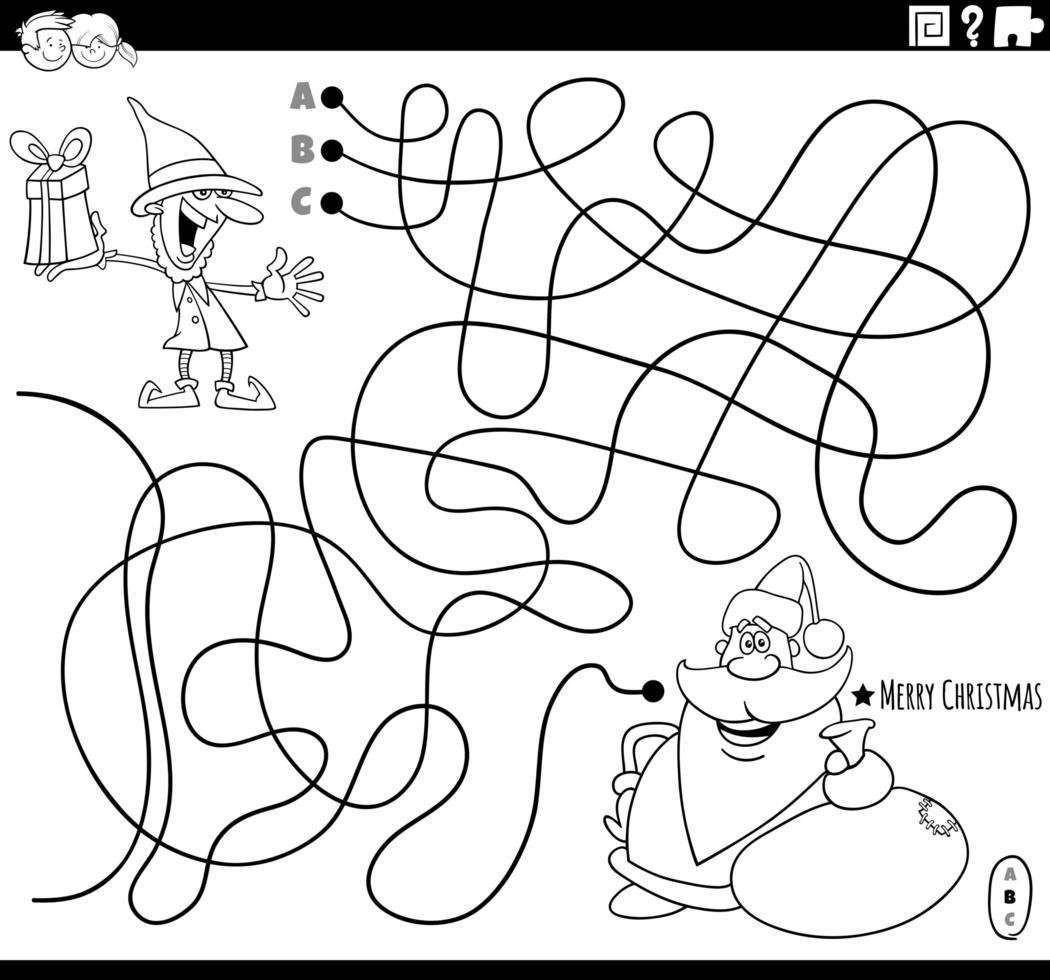labirinto di linea con personaggi natalizi da colorare pagina del libro vettore