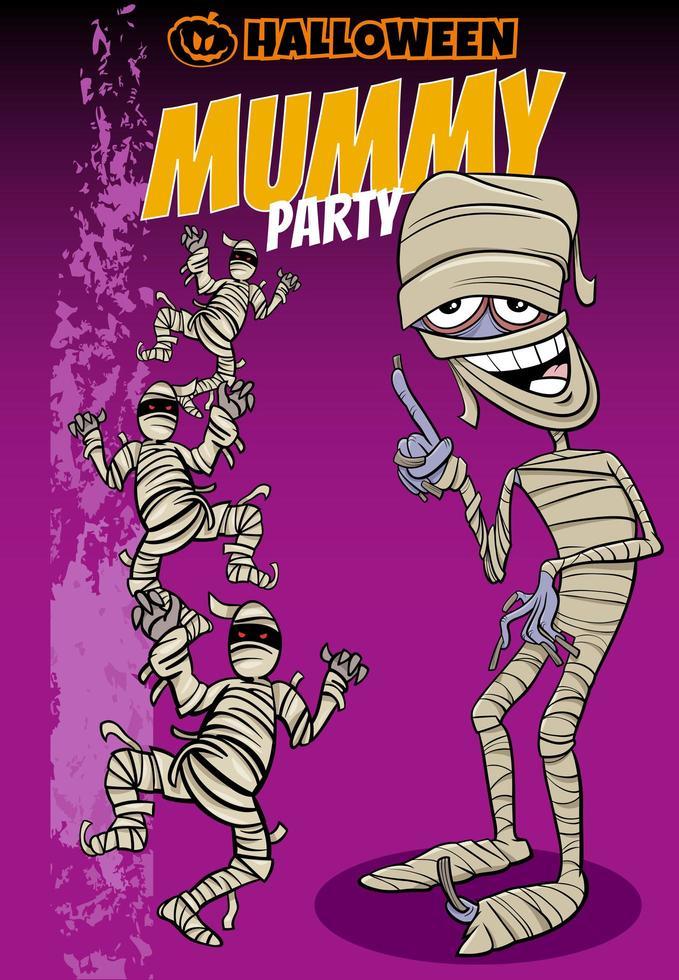 disegno del manifesto del fumetto di festa di Halloween con le mummie vettore