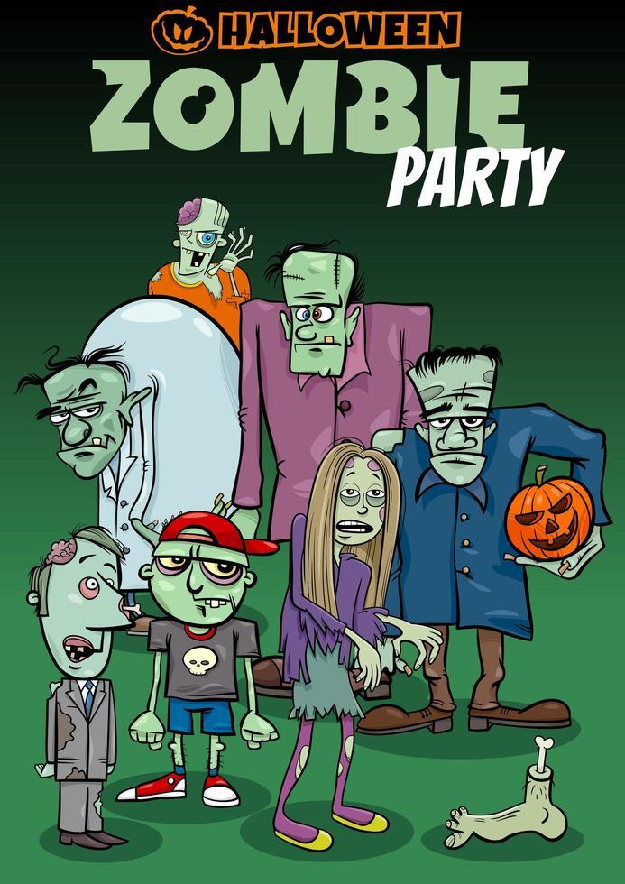 disegno del manifesto del fumetto di festa di Halloween con gli zombie vettore