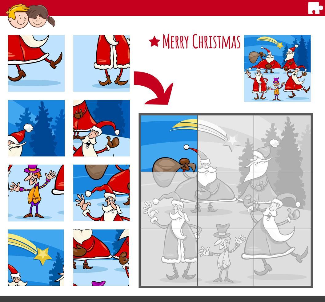 gioco di puzzle con personaggi di Babbo Natale vettore