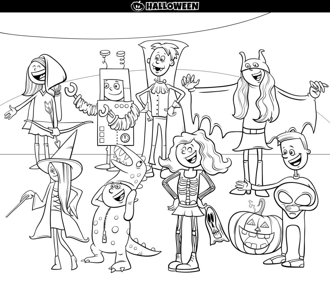 personaggi dei cartoni animati alla festa di halloween pagina del libro da colorare vettore