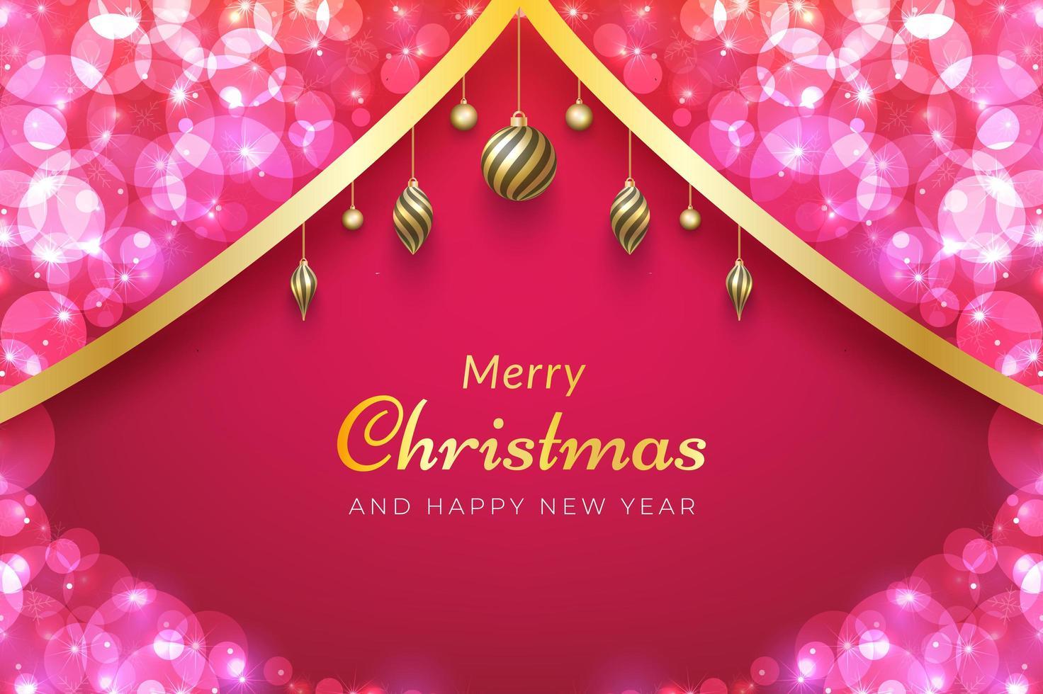 sfondo di Natale con nastro d'oro, ornamenti e bokeh rosa vettore