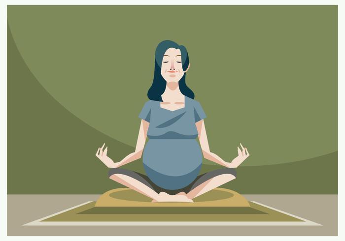 Bella donna incinta che fa il vettore incinto di yoga