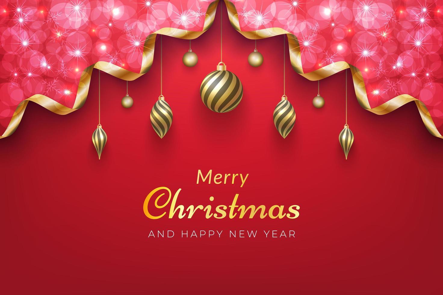 sfondo di Natale con scintillante nastro d'oro e ornamenti vettore