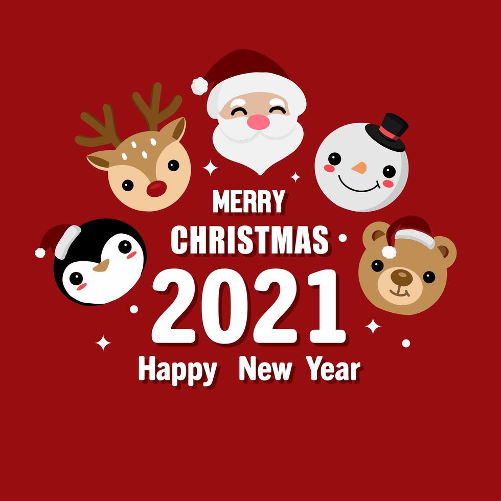 buon natale e felice anno nuovo biglietto di auguri vettore