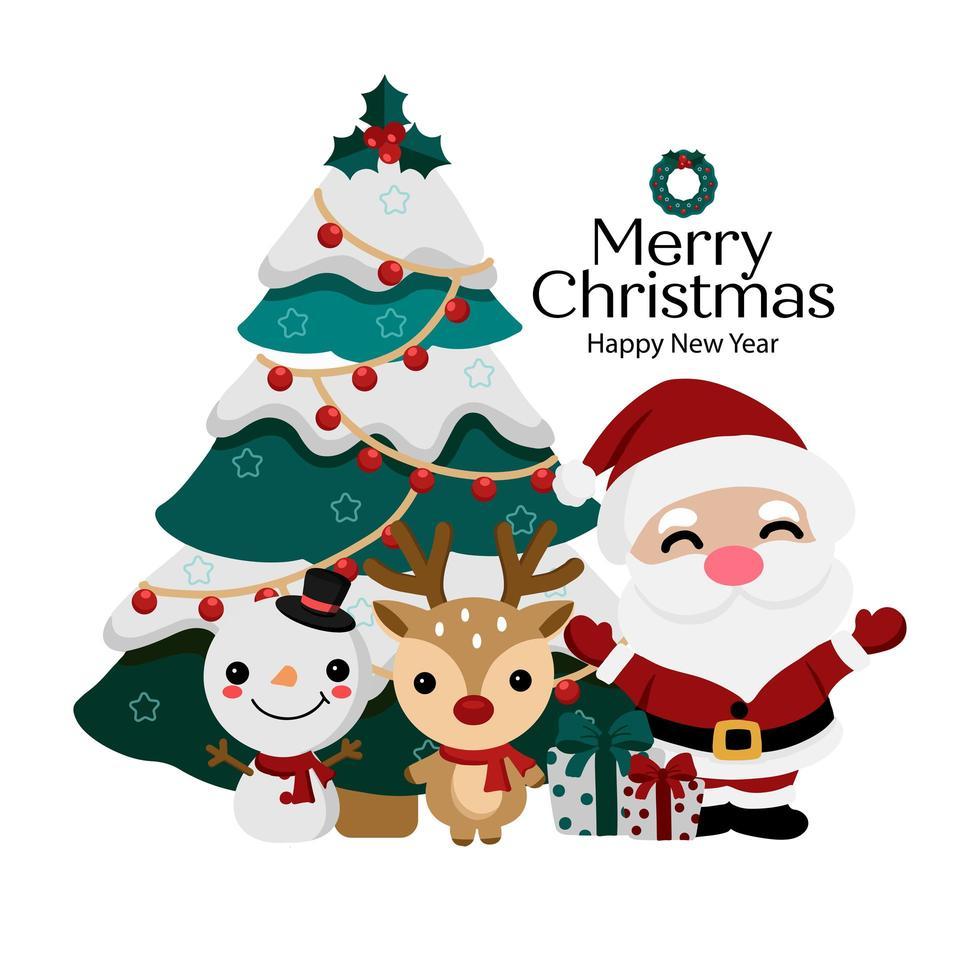 biglietto di auguri di Natale con Babbo Natale e amici vettore