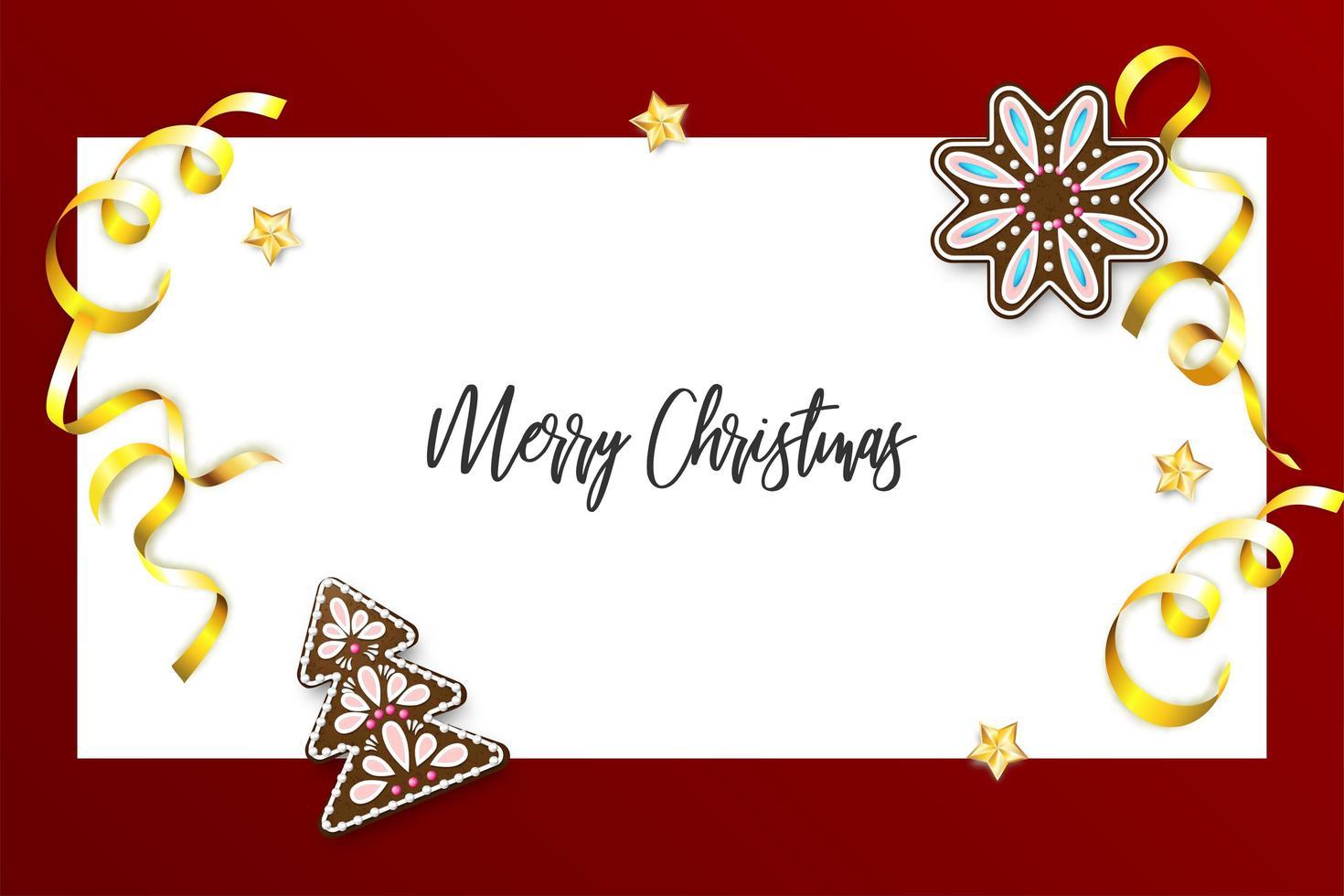 banner natalizio pan di zenzero e coriandoli vettore
