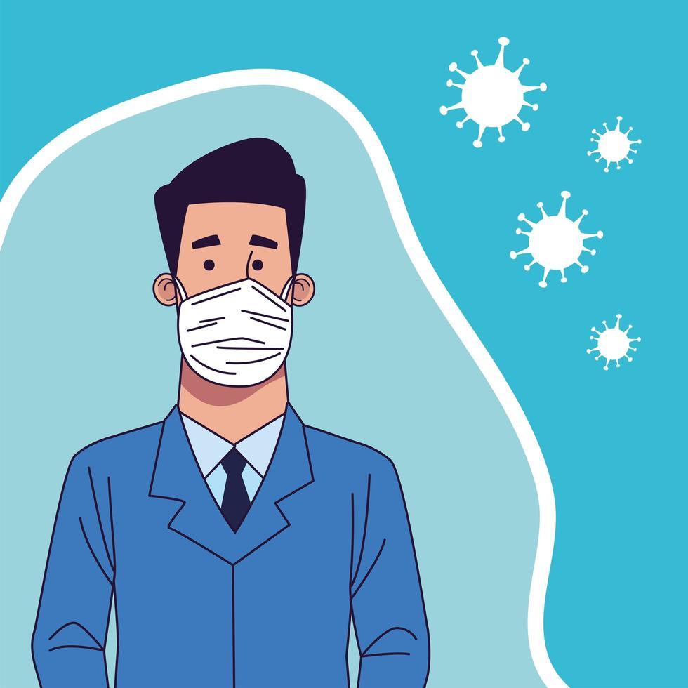 giovane uomo che indossa carattere maschera medica vettore