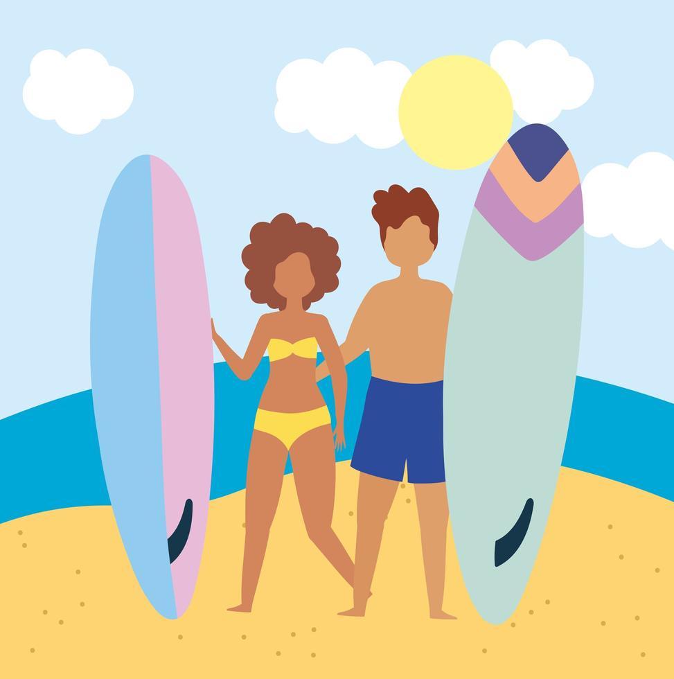 coppia facendo attività in spiaggia vettore