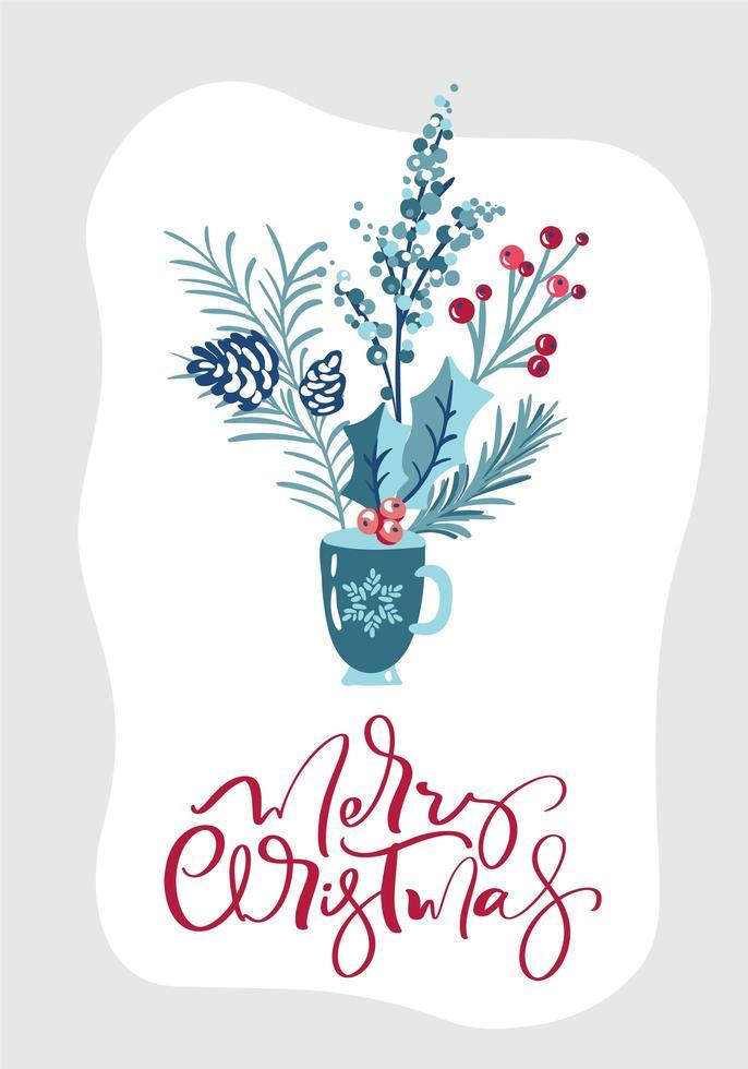 buon natale biglietto di auguri design con decorazioni floreali vettore