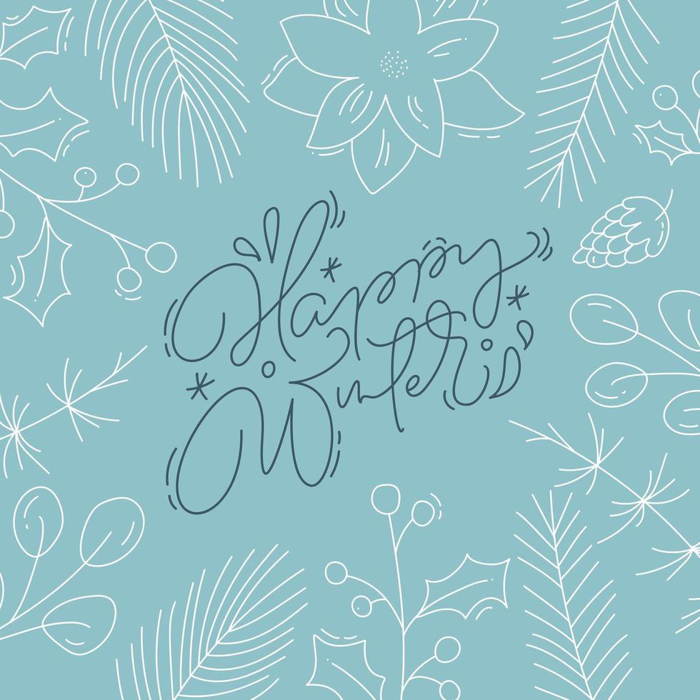 calligrafia invernale felice con fogliame stile linea vettore