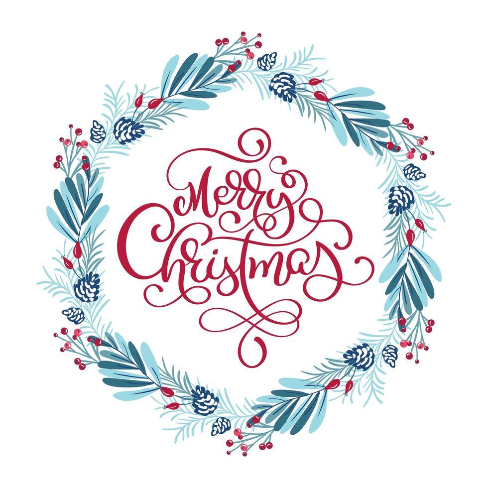 ghirlanda invernale blu e rossa con frase natalizia vettore