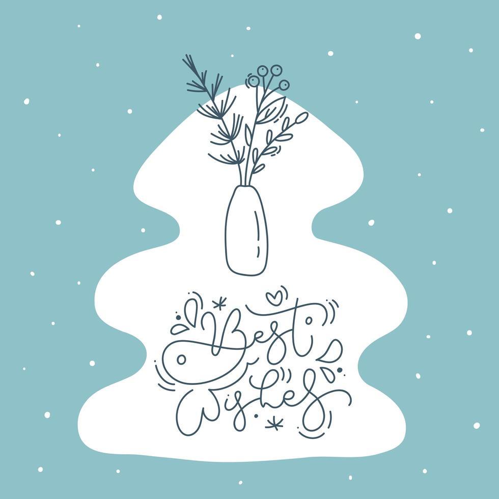 i migliori auguri calligrafia e pianta a forma di albero vettore