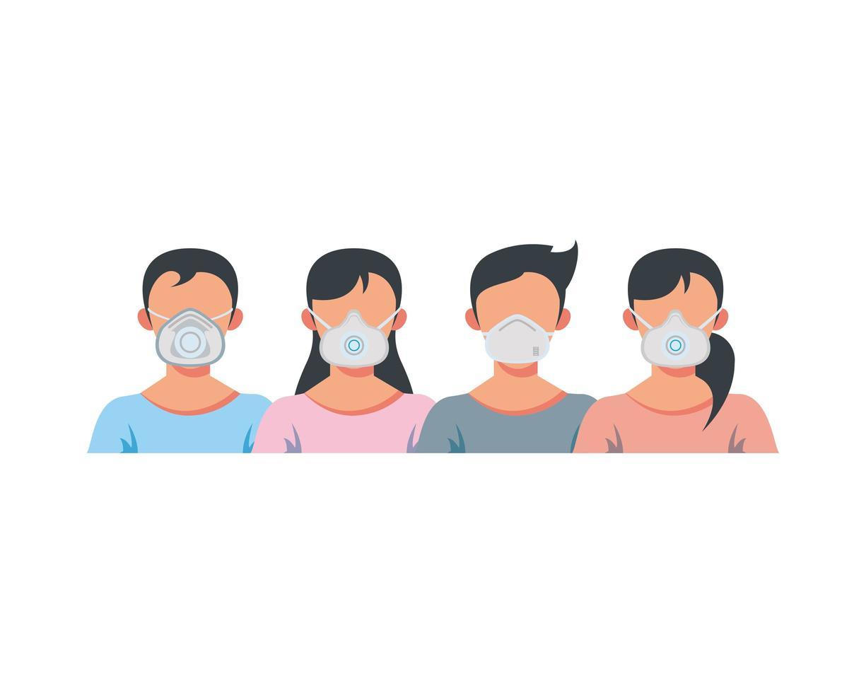 giovani che indossano maschere mediche vettore